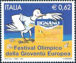 VIII Edizione del Festival Olimpico della Gioventù Europea ( E.Y.O.F. ) - Lignano Sabbiadoro - Gabbiano «Coki» mascotte