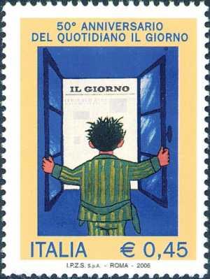 Cinquantenario del quotidiano «Il Giorno» - manifesto di Raymond Savignac del 1956