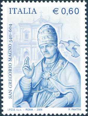 40° Anniversario dell'Unione Stampa Filatelica Italiana  ( USFI ) - «Papa Gregorio Magno benedicente» scultura