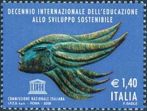 Decennio internazionale dell'educazione allo sviluppo sostenibile - «Il volo» , bronzo di Pasquale Basile