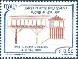 5° Centenario della nascita di Andrea Palladio - architetto - progetto del Ponte di Bassano