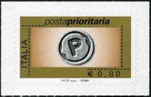 Posta prioritaria - tipi precedenti senza etichetta e senza millesimo - 80 c.