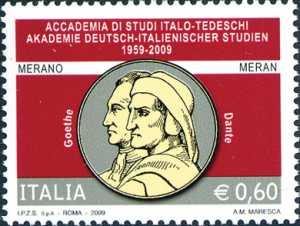 50° Anniversario della fondazione della Accademia di Studi italo-tedeschi di Merano - Effigi di Goethe e Dante Alighieri