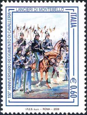 150º Anniversario del reggimento di cavalleria lancieri di Montebello - Ufficiali e tromba dei cavalleggeri di Montebello - opera di Antonio Cervi