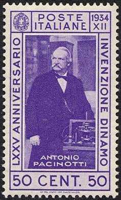 1934 - 75º Anniversario dell'invenzione della dinamo - ritratto di Antonio Pacinotti