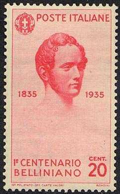 1935 - Centenario della morte di Vincenzo Bellini - ritratto