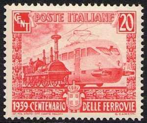 1939 - Centenario delle Ferrovie Italiane - Locomotiva moderna e locomotiva della ferrovia Napoli Portici