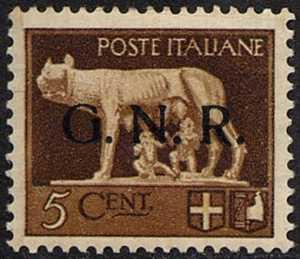 1943 - Guardia Naziale Repubblicana - serie «imperiale» soprastampata «G.N.R.»