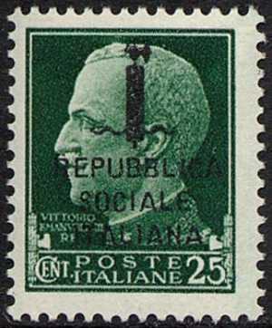 1944 - Repubblica Sociale Italiana - Francobollo del 1929 della serie «imperiale» soprastampato