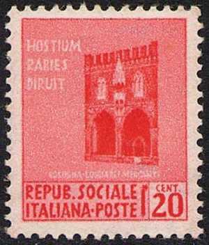 1944 - Repubblica Sociale Italiana - serie definitiva detta «Monumenti distrutti» - Loggia dei Mercanti - Bologna