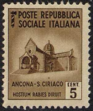 1944 / 45 - Repubblica Sociale Italiana - serie definitiva detta «Monumenti distrutti» - 2ª emissione - senza filigrana - Chiesa di San Ciriaco - Ancona
