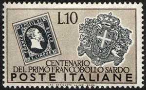 francobollo di Sardegna e stemma di Cagliari