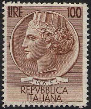 """ Italia Turrita "" - Alti valori - filigrana ""Ruota Alata"" - L. 100"