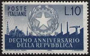 Decimo Anniversario della Repubblica - L. 10