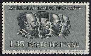 Centenario della II Guerra di Indipendenza - Vittorio Emanuele II,Garibaldi,Cavour,Mazzini