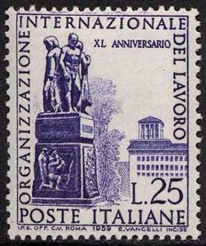 40° Anniversario della Organizzazione Internazionale del Lavoro - Sede di Ginevra - L. 25
