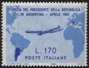 Visita del Presidente Gronchi in Argentina, Uruguay e Perù - L. 170 - azzurro