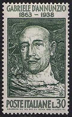 Centenario dlla nascita di Gabriele D'Annunzio - xilografia di Barbieri