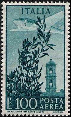 Posta aerea -  Torre del Campidoglio - tipi del 1948 con filigrana Stelle