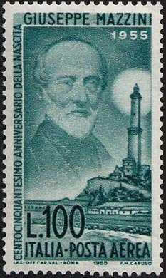 Posta aerea - 150º Anniversario della nascita di Giuseppe Mazzini - ritratto e la Lanterna di Genova