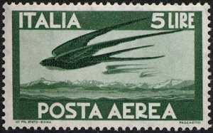 Posta aerea - «Democratica» - tipo del 1945  con filigrana Stelle