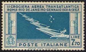 Posta aerea - Crociera transatlantica Roma-Rio de Janeiro del Generale Balbo - Idrovolanti e costellazione della Croce del Sud
