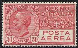 Posta aerea - Effigie di Vittorio Emanuele III entro un ovale - 50 c.