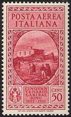 Posta aerea - 50° Anniversario della morte di Giuseppe Garibaldi - Casa di Garibaldi, a Caprera