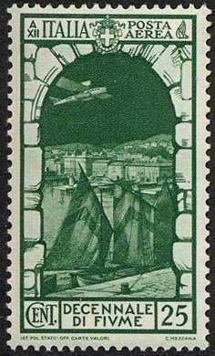 Posta aerea - Decennale dell'Annessione di Fiume - porto di Fiume