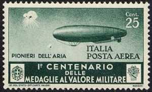 Posta Aerea - Centenario della istituzione delle Medaglie al Valor Militare - Dirigibilisti,  «pionieri dell'aria»