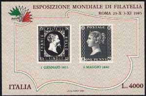 « Italia '85 » - Esposizione internazionale di filatelia - 5 cent. di Sardegna e Penny Black
