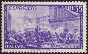 1948 - Repubblica - Espresso - Centenario del Risorgimento - I moti di Napoli