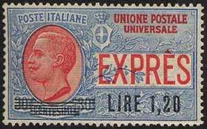 1921 - Espresso per l'estero del 1908 - soprastampato - tipo Leoni