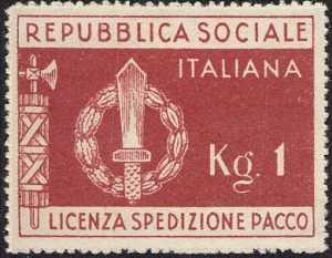 1944 - FRANCHIGIA MILITARE - R.S.I. - perforato a zig zag
