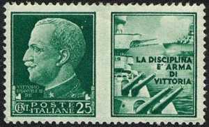 1942 - Propaganda di Guerra -  Regno - Tipi della serie «imperiale» con appendice di propaganda