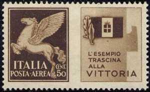 1942 - Propaganda di Guerra -  Regno - francobolli di Posta Aerea del 1930 con appendice di propaganda - non emessi