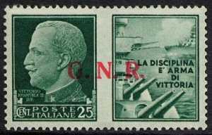 1943 / 44 - Propaganda di Guerra -  G.N.R. - francobolli del Regno soprastampati «G.N.R.»
