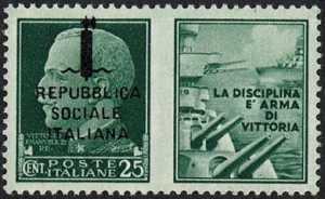 1944  -  Francobolli di propaganda -  R.S.I.  -   francobolli del Regno soprastampati solo a sinistra
