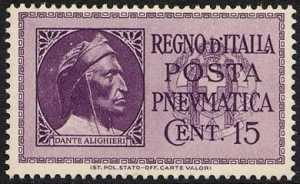 1933  - Posta Pneumatica - Regno -  nuovi tipi - Dante Alighieri
