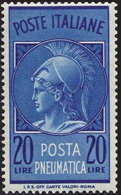 1966 - Posta Pneumatica - Repubblica- Testa di Minerva - filigrana stelle