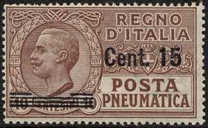 1924 - Posta Pneumatica - Regno - francobolli del 1913-23 soprastampati