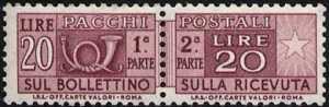 1973 - Pacchi Postali - Repubblica - tipo del 1955 - filigrana stelle - con dicitura «I.P.S. Off. carte Valori»