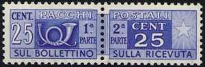 1946 - Pacchi Postali - Repubblica  - corno di posta a sinistra e cifra a destra
