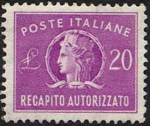 1955 - Recapito autorizzato - Repubblica - «Italia turrita» - tipo precedente con filigrana stelle