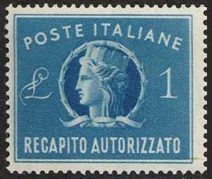 1947 - Recapito autorizzato - Repubblica - «Italia turrita» - grande formato