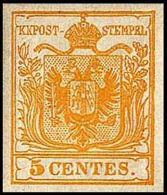 1850 - Prima Emissione - Stemma austro-ungarico - Valore in centesimi di lira