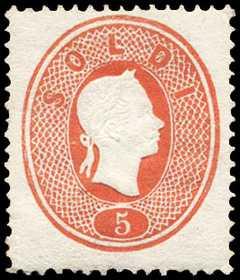 1861 - Terza emissione - Effige di Francesco Giuseppe in rilievo e rivolta a destra
