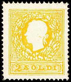 1858 - Seconda emissione - Effige in rilievo di Francesco Giuseppe incoronato d'alloro e rivolto a sinistra