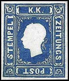 1858 - Francobolli per giornali - Effige di Francesco Giuseppe rivolta a sinistra