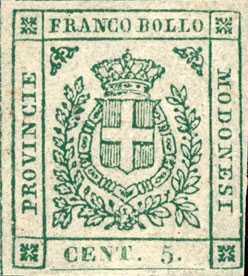 1859 - Governo Provvisorio - Stemma di Savoia col collare dell'Annunziata tra un tralcio di quercia ed uno di alloro
